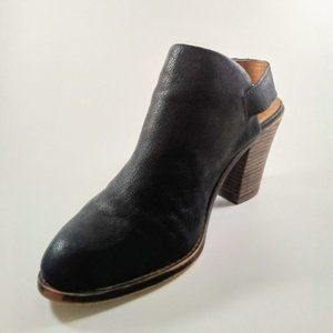 Lucky Brand | Black Leather Open Back Strap Bootie